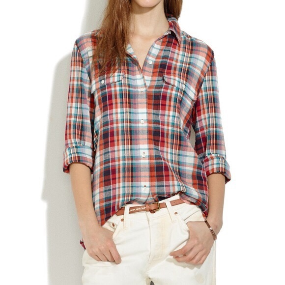 Madewell Tops - Madewell Ex-Boyfriend Plaid Button Down